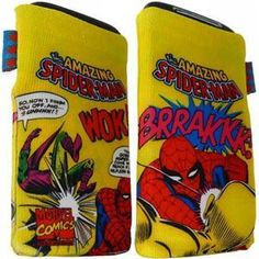 Marvel Comics Spiderman Phone Sock Yellow Pouch Case rare collector's