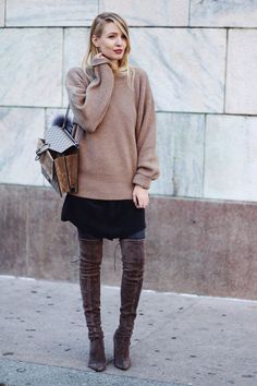 camel sweater + Gucci bag + black dress + black tights + taupe over the knee boots
