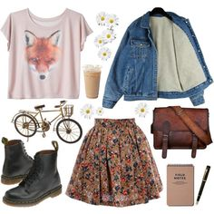 dr martens, skirt, messenger bag, and cute graphic This is basically what I want my wardrobe to look like