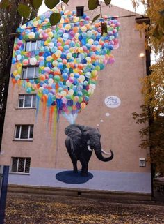 Elephant with balloons street art by Sasha Korban (Kyiv, Ukraine) ♥•♥•♥