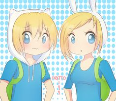Finn and Fionna  (not a fan of the show! just like the picture!)