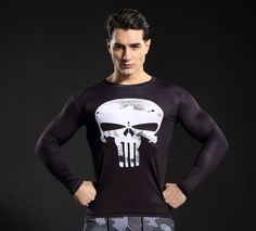 awesome Compression Crossfit Gear Logotype The Punisher Marvel  -  This longsleeve looks like natural superhero gear! Fits perfectly rash guard tee shirt is ideal for sport and daily usage. This shirt contains lycra, which allows  material  stretch to the several sizes and comes back to normal size. Perfectly breath tissue, the color doesn't fade over time.