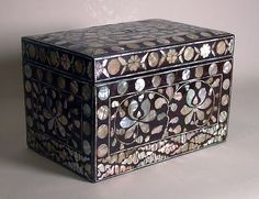 Box with decoration of lotus scrolls, Joseon dynasty (1392–1910), 18th century. Korea. Lacquer inlaid with mother-of-pearl; H. 8 1/4 in. (21 cm); W. 8 1/4 in. (21 cm); D. 12 9/16 in. (31.9 cm). The Metropolitan Museum of Art, New York, Gift of Dr. and Mrs. Roger Gerry, 1981 (1981.455.2a, b) © 2000–2015 The Metropolitan Museum of Art.