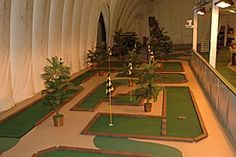 This is such a cool idea!  This course has an indoor mini golf course for when the weather gets bad.  Looks like a fun time!