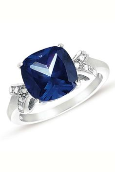 5.3 ct Blue Sapphire & Diamond Sterling Silver Ring