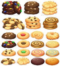 Buy Different Kind of Cookies by BlueRingMedia on GraphicRiver. Different kind of cookies illustration Cookies Et Biscuits, Sugar Cookies, Cookie Drawing, Cookie Vector, Dessert Illustration, Cute Food Art, Food Sketch, Cute Food Drawings, Kinds Of Cookies