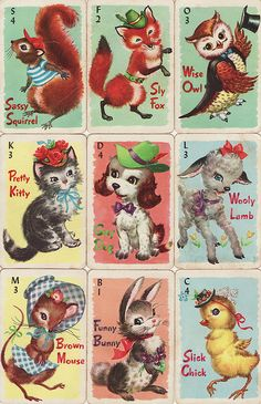 """Vintage Playing Cards   another pinner wrote -  """"A forgotten game from my childhood - Animal Rummy"""""""