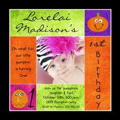 Cute Photo Halloween Invitation - 1st Birthday Girl