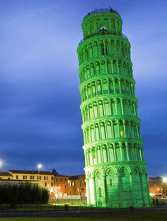 leaning tower of pisa green st. patrick's day