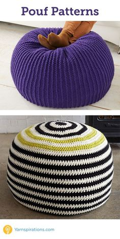 Knit and crochet Pouf will add a fun touch to any room from Yarnspirations | Free Pattern | Knit Pouf | Crochet Pouf | Crochet a pouf | knit a pouf