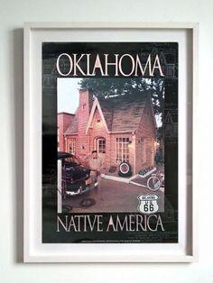 Quadro retrô Gas Station Route 66 Oklahoma Native America - Decoração de ambiente