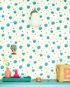 Eijffinger + RICE = Rock 'n' wallpaper Roll! How To Hang Wallpaper, Wallpaper Roll, Photo Mural, Pip Studio, Wall Lights, Polka Dots, Rice, Colours, Display