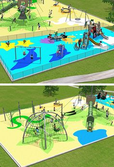 Full rounded play is offered in this exciting themed playground concept. The Ocean/Jungle unit sets the stage for the entire playground which includes separate 2-5 age and 5-12 age areas and varied physical play and role play throughout!  www.kompan.com www.corocord.com