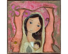 Madonna in Pink II Folk Art  Print from Painting 7 x by FlorLarios, $15.00