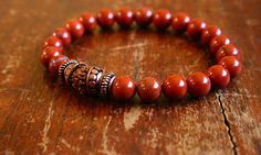 Mens Wrist Mala, Red Jasper and Rudraksha Seed