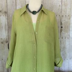 Coldwater Creek Blouse Olive green sheer blouse from Coldwater Creek. Three-quarter length sleeves with buttons and cuffs. Looks lovely over a camisole as pictured, but camisole sold separately. Coldwater Creek Tops Blouses