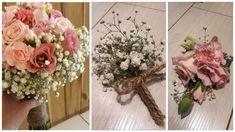 Handgebonden bruidsboeket met een basis van Hera roos, gipskruid, trosanjer en roze eustoma. Een heerlijk zoete combinatie in roze tinten! Bij passende corsage voor hem en een gipskruid corsage voor de getuigen/gasten. Alles afgewerkt met touw voor een vintage natuurlijke uitstraling Corsage, Floral Wreath, Wreaths, Vintage, Home Decor, Everything, Flower Crowns, Door Wreaths, Deco Mesh Wreaths