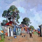 Sold | Theys, Conrad | Township with bluegums Painting Lessons, Painting & Drawing, South Africa Art, National Art Museum, Building Painting, South African Artists, Art Society, Art Studies, Graphic Art