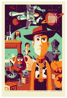 ToyStory & Disney always is fun & inspirational. Vintage look, with the shadow on half of the characters, & the colors. The type inside part of an object is cool.