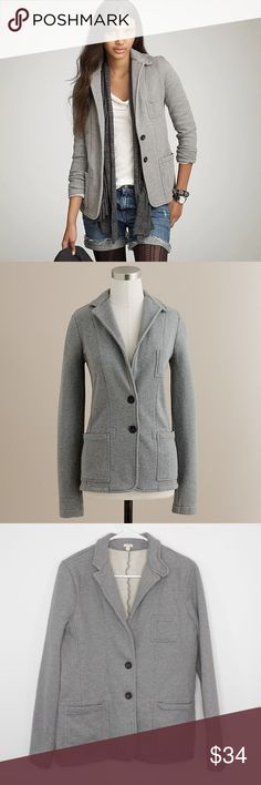 """J.CREW Knit Jacket J.CREW Jacket {Authentic Fleece Blazer} Gray Cotton Knit Button Up Size M  Great for work or play! Super versatile jacket.   In excellent condition!!!  (Measurements laying flat) Chest: 19"""" Length: 26"""" Sleeve: 24""""  Please message me with any questions.  Check out my other items! J. Crew Jackets & Coats"""
