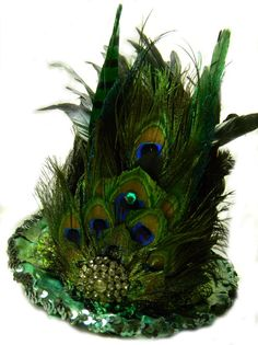 Emerald Midnight Peacock Feather TALL Top Hat