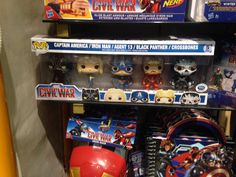 Captain America Civil War 5 pack with Black Panther, Agent 13, Captain America, Iron Man (facemask up), and Crossbones Pop figures by Funko, Disney Store exclusive--so far sold in the UK, no word on if it will be available in the US. Photo by Katie Finch shared on the Pop Vinyls site.