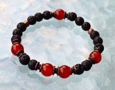 Basalt Lava Stone Carnelian Wrist Mala Beads Bracelet Root Chakra, Grounding, Fertility, Motivation, Clarification and Action Toward Goals