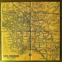 Map of Los Angeles Ceramic Tile Coaster Set