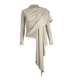 Wool/silk blend draped front cardigan