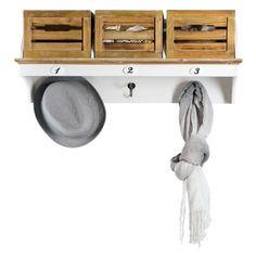 """Weiße Garderobe """"Audrey"""" aus Holz mit drei Haken und drei Boxen im kika Online-Shop."""