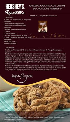 Hershey Recipes, Cookie Recipes, Dessert Recipes, Desserts, Hershey Chocolate, Chocolate Cookies, Delicious Fruit, Yummy Food, Mexico Food