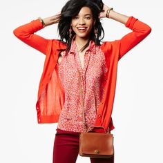 Mix saturated colors, but stick to the same tonal family like orange and red for a coordinated look.  jeanettemurphey.cabionline.com - Open 24/7