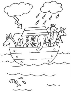Ausmalbild Szenen aus der Bibel: Kostenlose Malvorlage: Arche Noah kostenlos ausdrucken