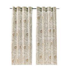 IKEA INGERLISE Curtains 2 Panels Beige White Floral