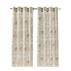 IKEA INGERLISE Curtains 2 Panels Beige White Floral