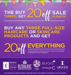 Only two more weeks to take advantage of our promo, which is 20% 3 or more products! You can combine any full size haircare and skincare items. Stock up before the end of July!  #sale #20%off #belladoraspa #carlsbad #davines #oribe #eminenceorganics #imageskincare #bumbleandbumble