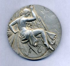 Art Deco Woman Holding Thunder Electricity Bronze Medal by Ray Pelletier | eBay