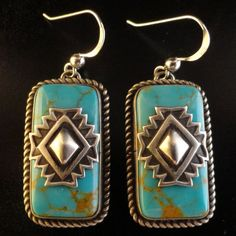 Native American Navajo Kingman Turquoise Earrings with Sterling Overlay Blanket Design Signed Bryant Martinez