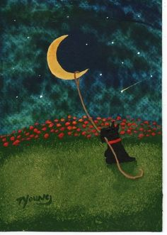 Scottie Dog folk art PRINT of Todd Young painting Lasso the Moon on imgfave