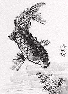 ACEO Original Art Chinese Sumi-E Ink Painting KOI Fish