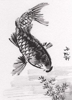 Lin Li's Chinese Art: ACEO Original Art Chinese Sumi-E Ink Painting KOI Fish