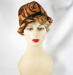 Vintage 1960s Hat Faux Fur Asymmetrical Cloche Sz 22.5