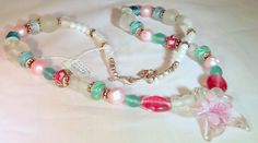 "Venetian Star, Pink, Blue Glass Beads and jade Necklace,""Venetian Jewels of the Sea""Necklace  Earring Set"