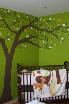 Enchanted forest green and brown nursery with painted tree and deer blanket Enchanted Forest Nursery Theme, Fairy Nursery, Nursery Room, Nursery Decor, Forest Bedroom, Nursery Ideas, Room Ideas, Baby Boy Rooms, Baby Room