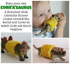 DIY Dinosaur Corn Cob Holder– Corn'a'saurus (Corn-oh-sore-us) :http://pagingfunmums.com/2013/09/13/diy-dinosaur-corn-cob-holder-cornasaurus-corn-oh-sore-us/