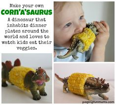 DIY Dinosaur Corn Cob Holder– Corn'a'saurus (Corn-oh-sore-us) :http://pagingfunmums.com/2013/09/13/diy-dinosaur-corn-cob-holder-cornasaurus-corn-oh-sore-us/