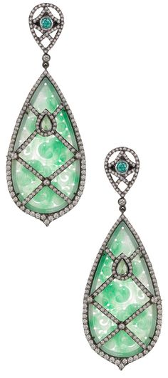 One-of-a-Kind, Hand-Carved Green Jade Earrings with diamonds (6.22tcw) set in 14k gold and oxidized sterling silver with posts. Via 1stdibs.