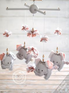 Grey & Pink Nursery Mobile Elephant Grey Pink by LollyCloth