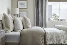 Muted tones are often overlooked, but with the right blend of textures and materials, the look gives this master bedroom effortless warmth and charm. Revo Plan One at Novel Park for William Lyon Homes Master Bedroom Design, Bedroom Decor, Throw Pillows, How To Plan, Interior Design, Park, Nest Design, Toss Pillows