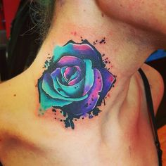 Watercolor rose neck tattoo